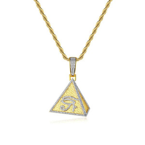Golden Egyptian Pyramid Pendant Necklace All-Seeing Eye Charm Geometric 3D Triangle Fashion Hip Hop Jewelry Drop shipping