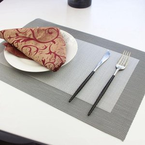 Table Runner Design Set Of 8 Placemats 45 X 30 CM PVC Weaves Gray