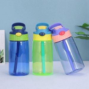 5 цвет 16 унций пластиковые детские бутылки с водой с уткой выставлен счет солома 500 мл герметичные бутылки студента PP портативный ребенок спортивный чайник Rra4120