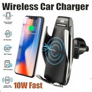 S5 자동 클램핑 10W QI 무선 차량용 충전기 360도 회전 벤트 마운트 전화 홀더 아이폰 Android 유니버설 폰