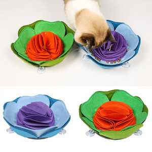 Bud Shaped Pet Snuffle Mat Dog Foraging Mat Slow Food Feeder with Suction Cup Puzzle Toy IQ Training Blanket Feeding Mat Bowl L0220