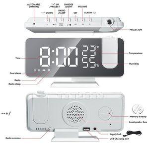 FM Radio LED Digital Smart Alarm Clock Watch for bedroom Table Electronic Desktop Clocks USB Wake Up Clock with Projection NHF10459