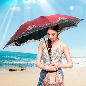 Umbrellas Fashion Vintage Lace Umbrella Rain Women Windproof Parasol Auti UV Sun Protection Outdoor 3 Folding Gift