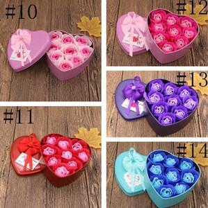 Día de San Valentín Regalo Jabón creativo Flor Caja de regalo Día de San Valentín Decoración Decoración Rosa Flor En forma de corazón Caja de Tina Cumpleaños Mar