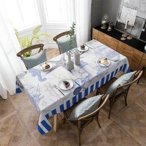 Table Cloth Marine Stripes Ocean Lighthouse Anchor Tablecloth Rectangular Christmas Dinning Decor Cover Waterproof