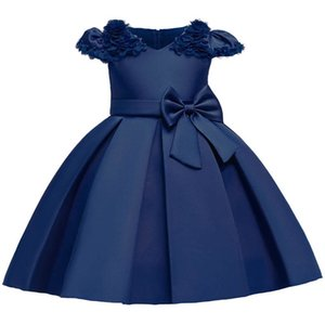 Girls Dresses Flower Formal Dresses Kids Dress Wedding Party Dress Princess Pageant Dresses Children Clothing B3902