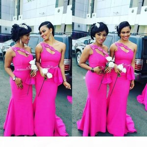 Mais Sione Ombro Fushia Africano Longo Dama De Promoção Vestidos Cetim Beaded Ruffles Mermaid Maid of Honor Party Prom Vestidos