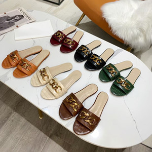 2021 designer Chain slides women sandal Crocodile pattern Leather slide flat slippers Sexy Ladies Summer shoes with box 270
