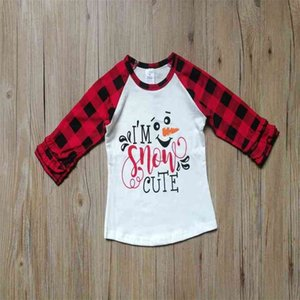 Snowman Xmas tree print classic christmas outfit blouses kids girls buffalo plaid long sleeve T-Shirt hoodie party costumes pajama tracksuit casual tops G024PLB
