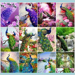 Azqsd Paint By Number Canvas Kits Peacock Homed Decoration Acrylic Paint Coloring By Numbers Animal Handpainted Gift Bdory Gnm2S