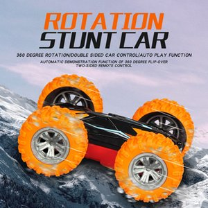 new mini remote control stunt dual car 2.4 G high speed rotary tumbling car children remote control toy car