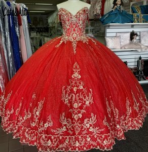 Stunning Gold Embroidery Red 2021 Off the shoulder Beads Cheap Quinceanera Prom Formal Dress Ball Gown Satin with Sleeves Vestidos 15 Anos