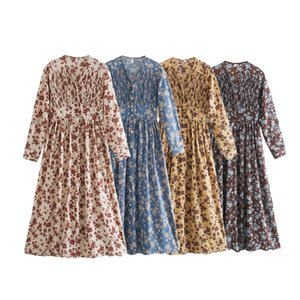 Toppies 2021 Primavera Mujer vestido de manga larga Midi Vestido floral Impresión floral Single Breasted V-cuello coreano Ropa de moda 210303