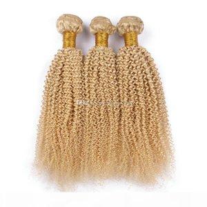 3 unids lote lote rubio 613 afro rizado rizado cabello humano paneles puro color 613 rubio pelo tejidos 613 Kinky Curly Hair Extensions no procesados