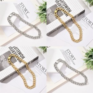 Karopel Iced Out Bling Rhinestone Mens Gold Silver Miami Cuban Link Chain Necklaces Diamond Men's Hip hop Necklace 130 R2