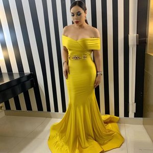 New Fashion Yellow Off the Shoulder Mermaid Evening Gowns Crystal Sash Ruched Top Elastic Satin Cheap Prom Dresses Formal Party Gowns
