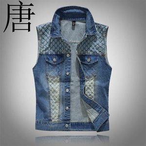 당나라 2021 남자 패션 패치 디자인 카우보이 닳은 청바지 민소매 재킷 펑크 록 오토바이 양복 조끼 무석