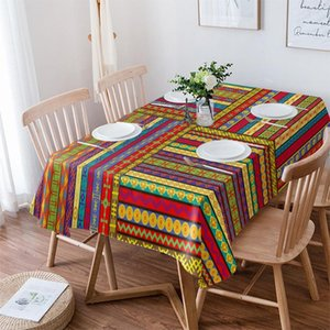 Table Cloth Afrian Ethnic Colorful Waterproof Dining Tablecloth For Kitchen Decorative Coffee Cuisine Party Cover