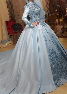 Muslim Wedding Dresses High Neck Long Sleeve Light Blue Lace Satin Appliques Crystals Modest Bridal Gowns Custom Size 2021