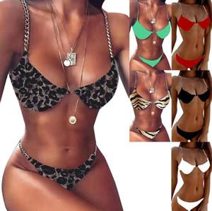 2021 뉴 체인 여성 비키니 여름 섹시한 두 조각 수영복 비키니 표범 인쇄 솔리드 컬러 수영복