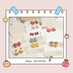 Stud Cartoon Flower Earrings Cute Strawberry Carrot Frog Resin Women Bow-Knot Gift For Children Friends