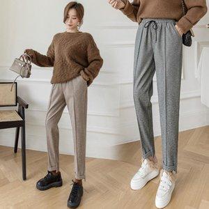 Women's Pencil Pants Autumn Winter Plus Size Style Thick Woolen Harem Pants Female Casual Drawstring Suit Pant Ankle Trousers