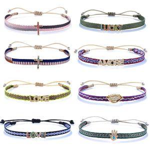 KELITCH NEW Women Cross Letter Friendship Bracelet Tropical Beach Sand Wrap Charm Bracelet Bangle Wholesale Rainbow