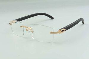 2021 natural black wooden temples glasses frame 3524012 luxury designers glasses, size: 36 -18-135mm