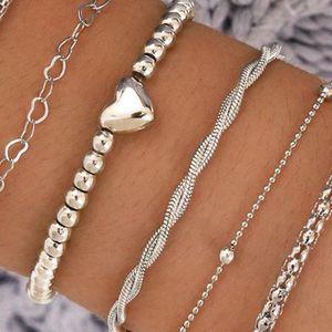 Link, Chain Boho Thick Silver Color Charm Bracelets Bangles 2021 Fashion Jewelry 6Pcs Punk Curb Cuban Set For Women Gift