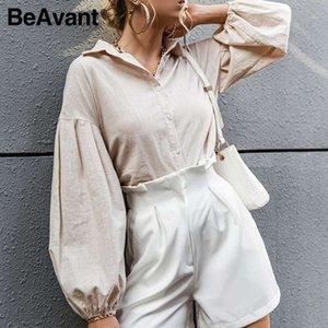 BeAvant Solid bubble sleeve elegant woman shirt Retro bottoming spring summer causal shirt female Fashion loose short top ladies1