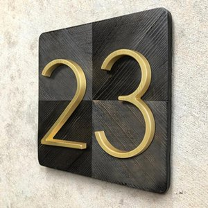 125mm Golden Floating Modern House Number Satin Brass Door Home Address Numbers for House Digital Outdoor Sign Plates 5 In. #0-9