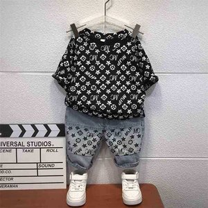 Summer Children Boys' Suit Letters Printed Handsome Baby Tracksuit Short-sleeve Top Tee+ Pants Two-piece Outfits Clothes Casual Sets G55BXWB