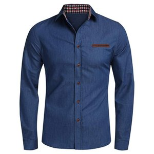 Solid Shirts Mens Casual Button Blouse Trun-down Collar Denim Long Sleeve Shirts Tops Blouse Camisa hombre ropa hombre elegante