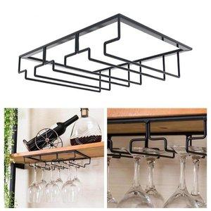 Grature en verre à vin sous meuble biguette de vin porte-verre Verres de rangement Cintre de stockage Organisateur pour Bar Cuisine Tasses # T3G