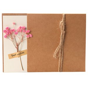 Festival card with dried flower emulate paper flower Mothers Day Postcard DIY Postcard for Mother Lover kraft paper envelope 17 style LLA494