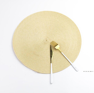 Round Woven Placemats Heat Resistant Wipeable Placemat non-slip Washable Kitchen Place Mats Hand-Woven Rattan Placemats EWC6446