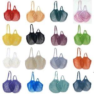 Pamuklu alışveriş çantası katlanabilir yeniden kullanılabilir alışveriş bakkal çantası sebze ve meyve pamuk örgü pazar string net AHE4992