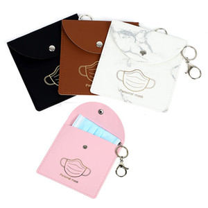 Portable Mask Storage Bag Keychain Reusable Outdoor Dust Mask Storage Clip Keyring Pendant Fashion PU Leather Car Key Chain