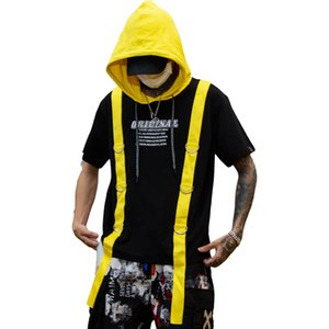 2021 Men Will See Yellow Red Ribbons Patchwork Hip Hop with Hoodie T-shirt From of Vintage Casual Wear Shirts Streetwear La2o