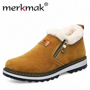 Merkmak Invierno Hombres Botas de nieve Zapatos para hombre Cálido Cálido Peluche Casual Zapatos Casuales Hombres Botas de Tobillo Año Nuevo Navidad V90B #
