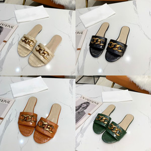 2021 Designer chain slides Women Sandal Crocodile Leather Flats Slippers Summer Beach Causal Shoes Flip Flops With Box 270