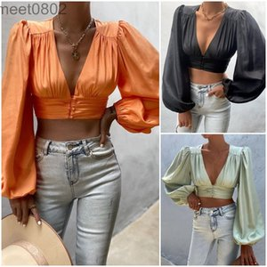 Spring Women solid color V Neck Pleated Short Blouse Female Long Sleeve Shirt Casual Lady Crop Tops Women's Blouses A0218