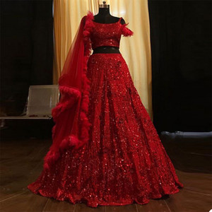 2 Pieces Luxury Red Prom Dresses With Wrap Feather Bling Sequin Beads Evening Dresses Dubai Arabic Custom Made Sweep Train Pageant Gown