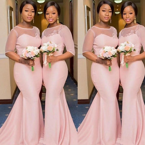 Pink Bridesmaid Dresses 2021 Half Sleeves Tulle Satin Mermaid Custom Made Plus Size Scoop Neck Lace Applique Maid of Honor Gown vestido