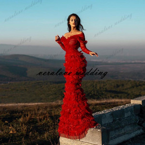 Sexy Red Evening Dress Ruffles Tulle Mermaid Prom Gowns Long Sleeves 2021 engagement dresses long vestido de fiesta de boda
