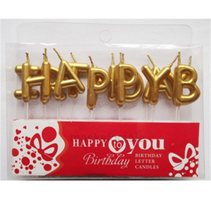 local Golden English silver gold birthday alphabet HAPPYBIRTHDAY candle XHN492