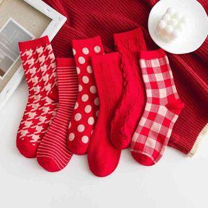 Thous bird lattice Red Christmas twist medium tube men women lovers year stockings autumn and winter new