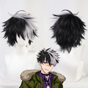 Costume AccessoriesGame Promise of Wizard Bradley Wig Cosplay Black Mixed Grey Gray Short Synthetic Hair Heat Resistant Halloween Free Wig C