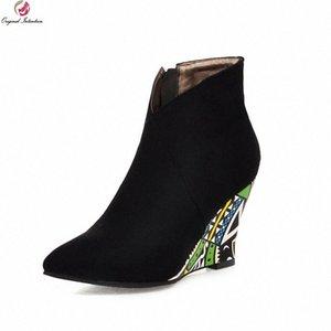 Оригинальные намерения Новый дизайн клинья заостренные носки короткими сапогами женщина ботильоны черные зеленые фиолетовые orage сексуальные красочные туфли T9FV #