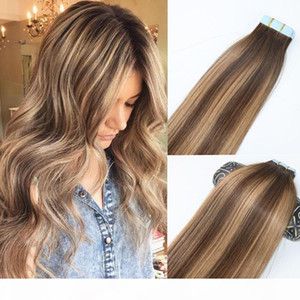 Skin Weft Tape In Human Hair Extensions PU Tape Hair 40pcs set 14 - 24 inches Balayage Ombre Hair Color Highlight Hairstyle